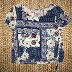 Floral quilt printed tee